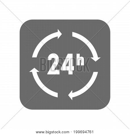 Customer service icon with 24 hours sign. Support management, service centre pictogram isolated vector illustration.