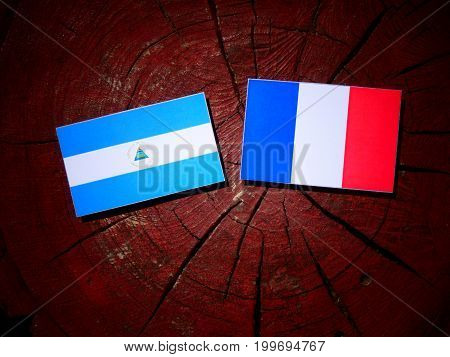 Nicaraguan Flag With French Flag On A Tree Stump Isolated