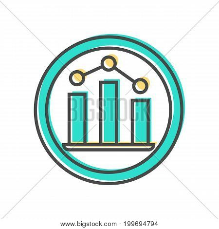 Data sorting icon with diagram sign. Data analysis, business analytics pictogram isolated vector illustration.