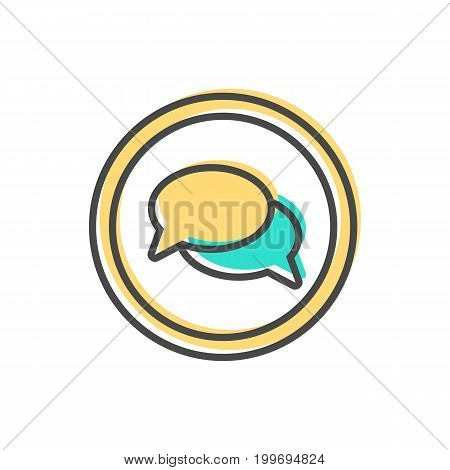Data sorting icon with speech bubble sign. Data analysis, business analytics pictogram isolated vector illustration.