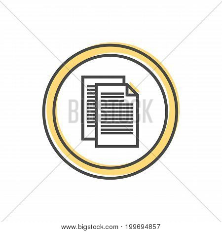 Data sorting icon with document sign. Data analysis, business analytics pictogram isolated vector illustration.