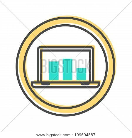 Data sorting icon with laptop sign. Data analysis, business analytics pictogram isolated vector illustration.