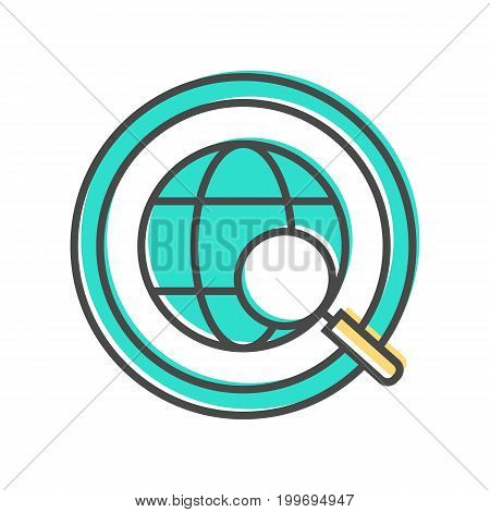 Data sorting icon with globe sign. Data analysis, business analytics pictogram isolated vector illustration.