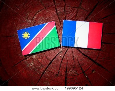 Namibian Flag With French Flag On A Tree Stump Isolated