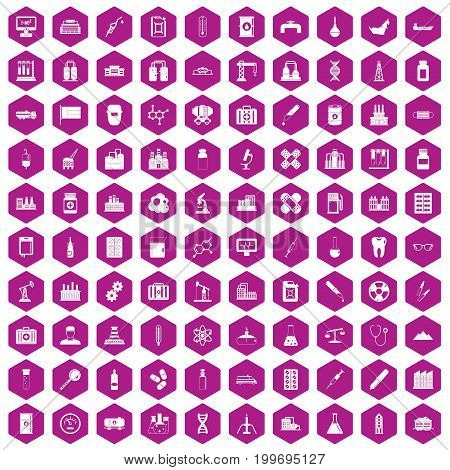 100 chemical industry icons set in violet hexagon isolated vector illustration