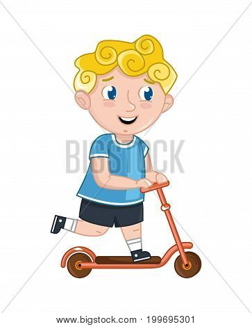 Little boy riding on kick scooter. Interesting children life, happy childhood, emotion kid cartoon character isolated on white background vector illustration.