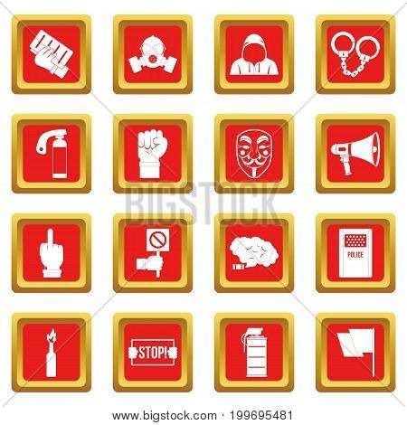 Protest icons set in red color isolated vector illustration for web and any design