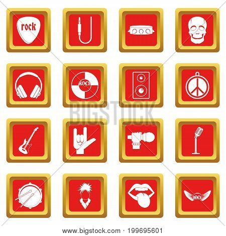 Rock music icons set in red color isolated vector illustration for web and any design