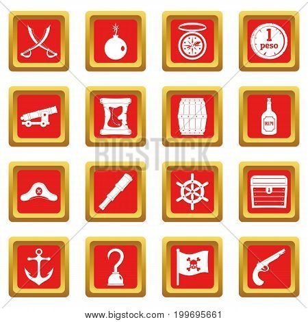 Pirate icons set in red color isolated vector illustration for web and any design