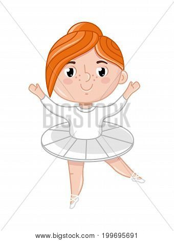 Smiling little ballerina girl in white tutu. Interesting children life, happy childhood, emotion kid cartoon character isolated on white background vector illustration.