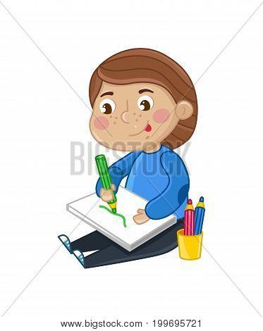 Smiling little girl draws in album. Interesting children life, happy childhood, emotion kid cartoon character isolated on white background vector illustration.