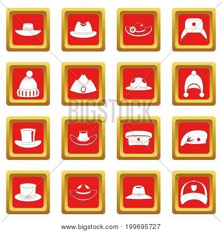 Headdress hat icons set in red color isolated vector illustration for web and any design