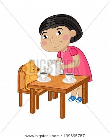 Smiling little girl gaming in tea party. Interesting children life, happy childhood, emotion kid cartoon character isolated on white background vector illustration.