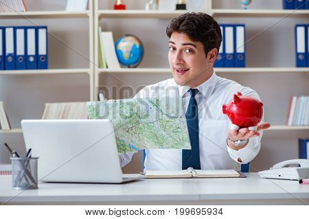 Businessman traveling agent working in the office