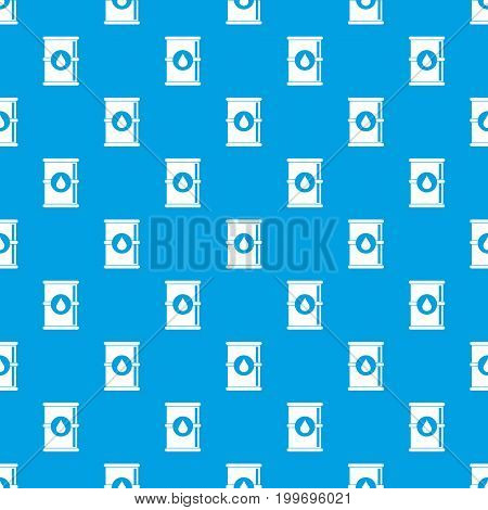 Barrel of oil pattern repeat seamless in blue color for any design. Vector geometric illustration