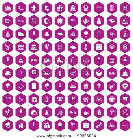 100 childrens parties icons set in violet hexagon isolated vector illustration