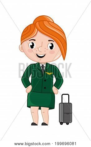 Smiling girl in stewardess uniform. Professional occupation concept, happy childhood, emotion kid cartoon character isolated on white background vector illustration.
