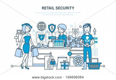 Retail security. Shopping, security online ordering system of products, secure transactions and payments protection, technical support. Illustration thin line design of vector doodles