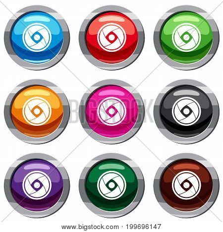 Camera lens set icon isolated on white. 9 icon collection vector illustration