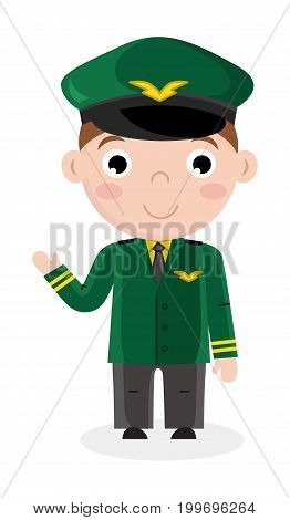 Smiling little boy in airplane pilot uniform. Professional occupation concept, happy childhood, emotion kid cartoon character isolated on white background vector illustration.