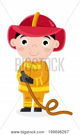 Smiling little boy in fireman uniform with hose. Professional occupation concept, happy childhood, emotion kid cartoon character isolated on white background vector illustration.