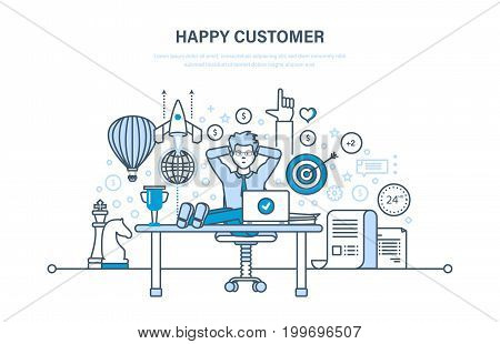 Happy customer. Successful cooperation, positive emotions, achievement of purpose, qualitative result. Illustration thin line design of vector doodles, infographics elements.