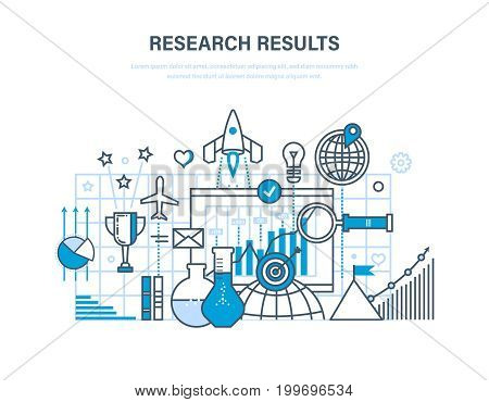 Research results concept. Marketing research, data analysis, analysis and statistics of indicators, management, training. Illustration thin line design of vector doodles, infographics elements.