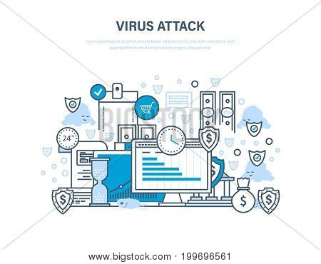 Virus attack concept. Protection of data, payments, financial security, information technology, communications, protection from threats and break-ins. Illustration thin line design of vector doodles.