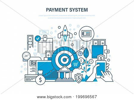 Payment system concept. Methods and forms of payment, security of financial transactions. Internet banking, cash deposits. Illustration thin line design of vector doodles, infographics elements.