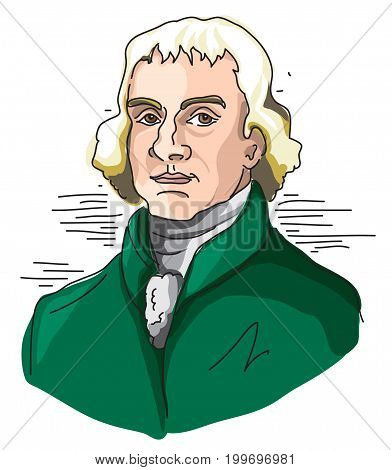 Digital Illustration of third U.S President, Thomas Jefferson