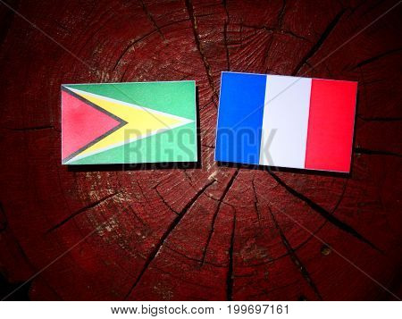 Guyana Flag With French Flag On A Tree Stump Isolated
