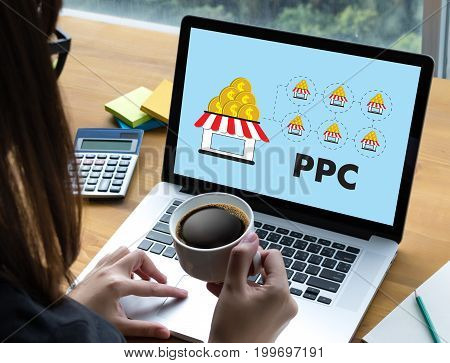 Ppc - Pay Per Click Concept Businessman Working Concept