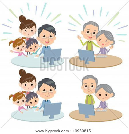 family three generations internet communication Remote set