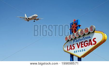Welcome to Fabulous Las Vegas Sign with Arriving Airplane. The Las Vegas sign is in the public domain.