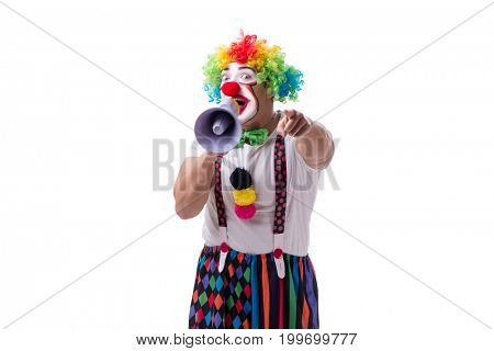 Funny clown with a megaphone isolated on white background