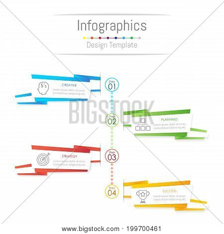 Infographic design elements for your business data with 4 options parts steps timelines or processes paper banner style concept. Vector Illustration.