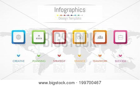 Infographic design elements for your business data with 6 options parts steps timelines or processes. Vector Illustration. World map of this image furnished by NASA