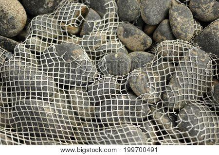 Fishing Net Over Rocks