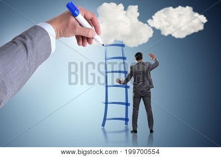 Businessman climbing career ladder in business concept