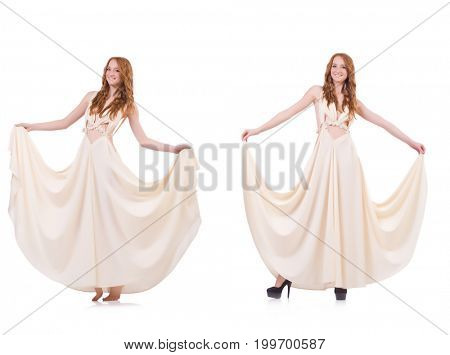 Man in white dress isolated on white
