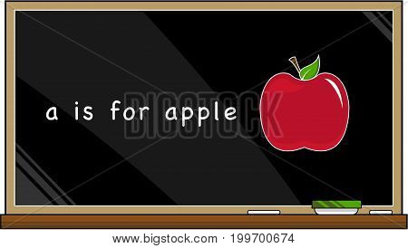 A is for Apple Alphabet Learning Illustration