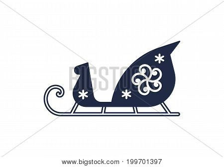 Santa sleigh isolated vector icon. Merry christmas and happy new year symbol illustration.