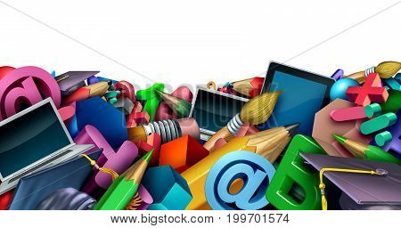 School border background and learning tools and supplies as a computer tablet pencils and learning icons shaped in a horizontal frame with isolated white background copy space or text area as a 3D illustration.