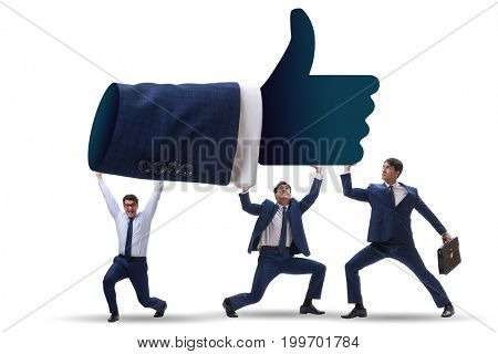 Businessmen supporting thumbs up gesture