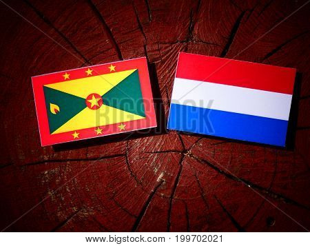 Grenada Flag With Dutch Flag On A Tree Stump Isolated