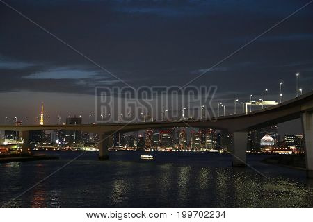 Night view of Tokyo Bay in Japan