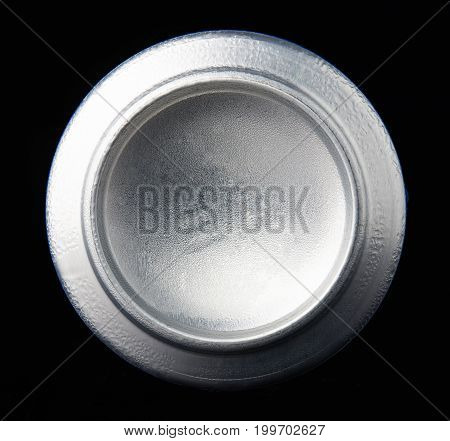 Back view of metal can isolated on black background