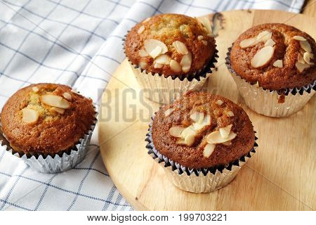 Banana cupcakes very yummy and delicious banana cake and almond toping.