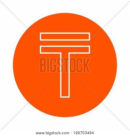 Symbol of Kazakhstan tenge vector round line icon flat style