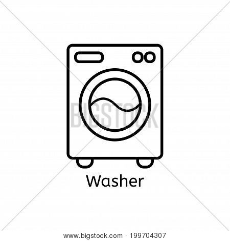 Washer simple line icon. Washing mashine thin linear signs. Washing clothes simple concept for websites, infographic, mobile app.